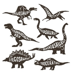 Dinosaurs silhouettes with lettering vector