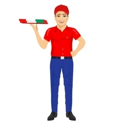 Pizza delivery man holding cardboard vector