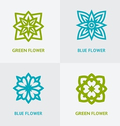 Natural floral logo set vector