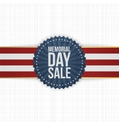 Memorial day sale realistic banner and ribbon vector