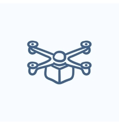Drone delivering package sketch icon vector