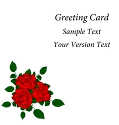 Greeting card with red roses vector