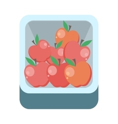 Apples in tray flat design vector