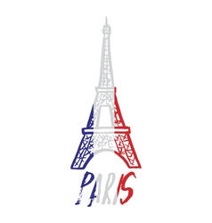 Hand drawn concept logo with eiffel tower with vector