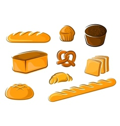 Cartoon bakery products for baker shop design vector image