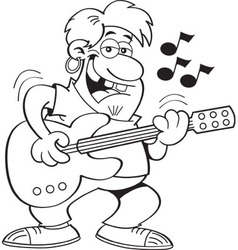 Cartoon man playing a guitar vector