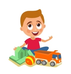 Child plays with toys flat color vector image