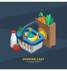 Isometric Supermarket Icon vector image vector image