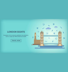 london buildings banner horizontal cartoon style vector image