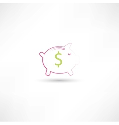 pink pig moneybox vector image vector image