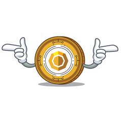 Pointing finger komodo coin character cartoon vector