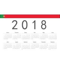 Portuguese 2018 year calendar vector image vector image