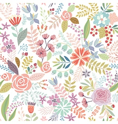 Seamless Floral colorful hand drawn pattern vector image vector image
