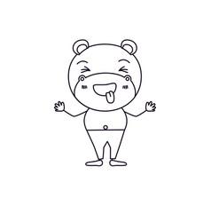 Sketch silhouette caricature of cute hippopotamus vector