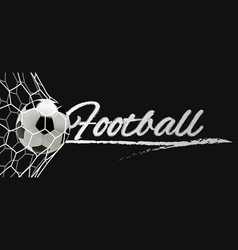 soccer or football banner ball in the net vector image vector image