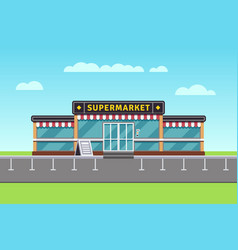 supermarket building shopping market mall vector image vector image