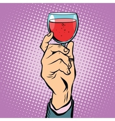 Toast glass red wine pop art vector