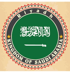 Vintage label cards of saudi arabia flag vector