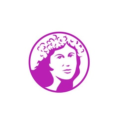 Woman crown of flowers circle retro vector
