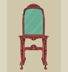 wooden pink table with carved details and a large vector image