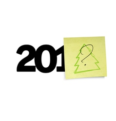 New year yellow notes concept vector