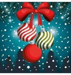christmas balls snowfall and landscape design vector image