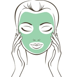 Female face with beauty mask vector