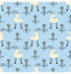 Deer among flowers seamless pattern vector image