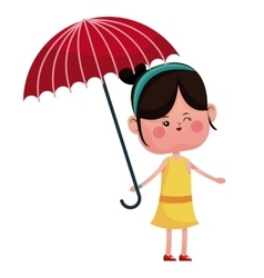 Girl wink with red umbrella vector