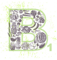 ink hand drawn fruits and vegetables vitamin b1 vector image