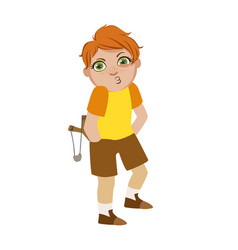 boy with slingshot looking for trouble part of vector image