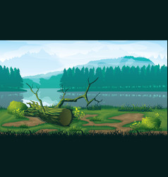 horizontal seamless background of landscape with vector image