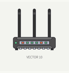 line flat color computer part icon wireless vector image