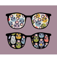 Retro sunglasses with dolls reflection in it vector