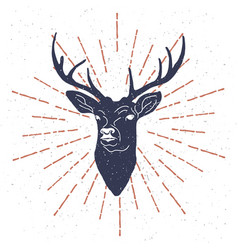 Hand drawn vintage label with textured deer vector
