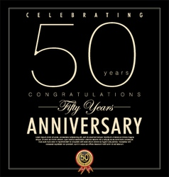 50 years Anniversary black background vector image