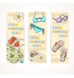 Vertical summer banner with young people beach vector