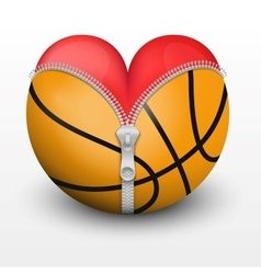 Red heart inside basketball ball vector