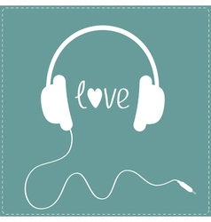 White headphones with cord dash line love card vector