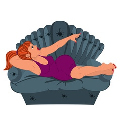 Cartoon woman in purple dress lying on the couch vector