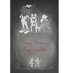 Christmas Santa Elf design shalk black board vector image