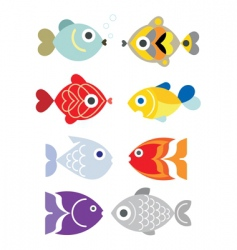 Exotic fishes vector