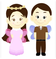 Cute cartoon girl and boy vector
