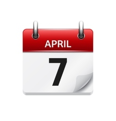 April 7 flat daily calendar icon date and vector