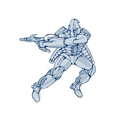Mecha robot warrior with ray gun vector