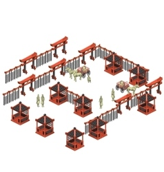 Scene creator chinese pavilions soldiers carts vector