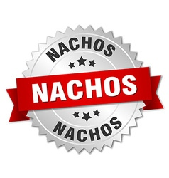 Nachos 3d silver badge with red ribbon vector