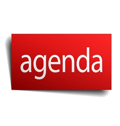 Agenda red paper sign isolated on white vector