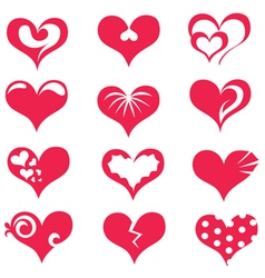 hearts collection of symbols vector image