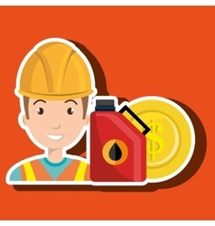 Oil worker person isolated icon design vector